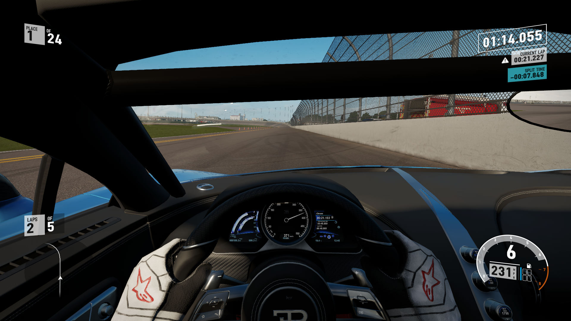 Forza Motorsport 7 2018 Bugatti Chiron Xbox One The Speedo Indicates 231 Mph But