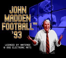 John Madden Football '93 SNES Title Screen