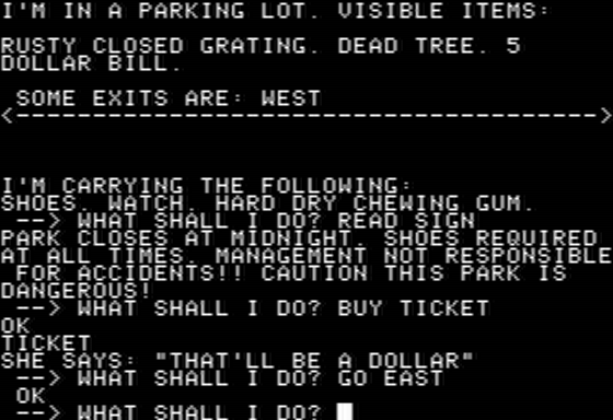 Mystery Fun House Apple II The Parking Lot