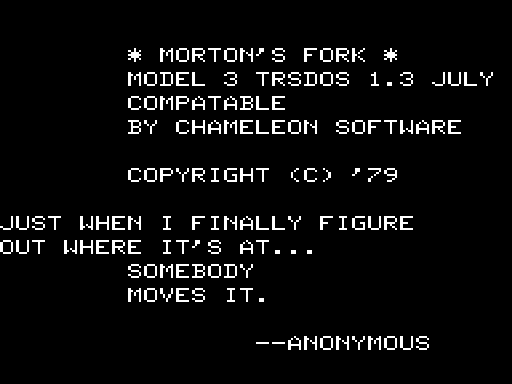 Morton's Fork TRS-80 Introduction