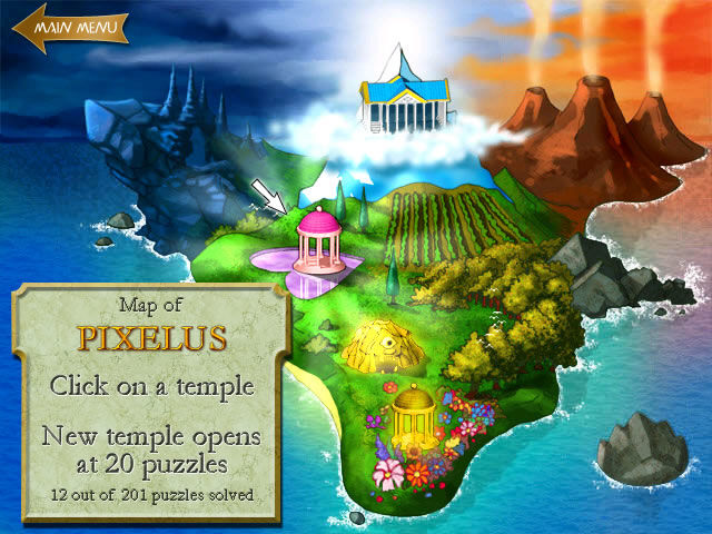 Pixelus Deluxe Windows The overview map, new locations are unlocked when a certain amount of puzzles is solved.