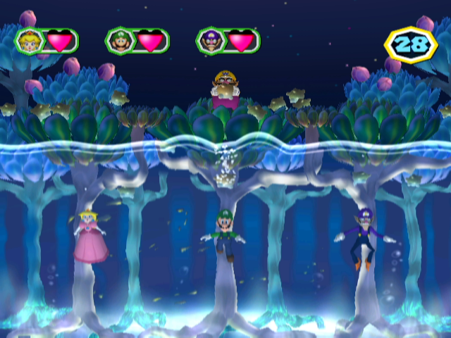 Mario Party 6 GameCube Mini games change depending on whether it's day or night (here it's night)