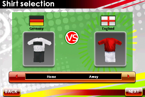 Real Soccer 2009 Android Shirt selection