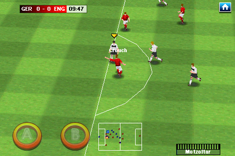 Real Soccer 2009 Android Crouch with a shot attempt