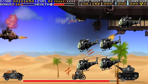 Apache Overkill PSP A mid-level boss as a giant ship