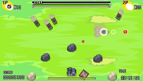 Charge! Tank Squad! PSP Defend the base near the bottom of the screen.