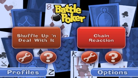 Battle Poker PSP Main menu