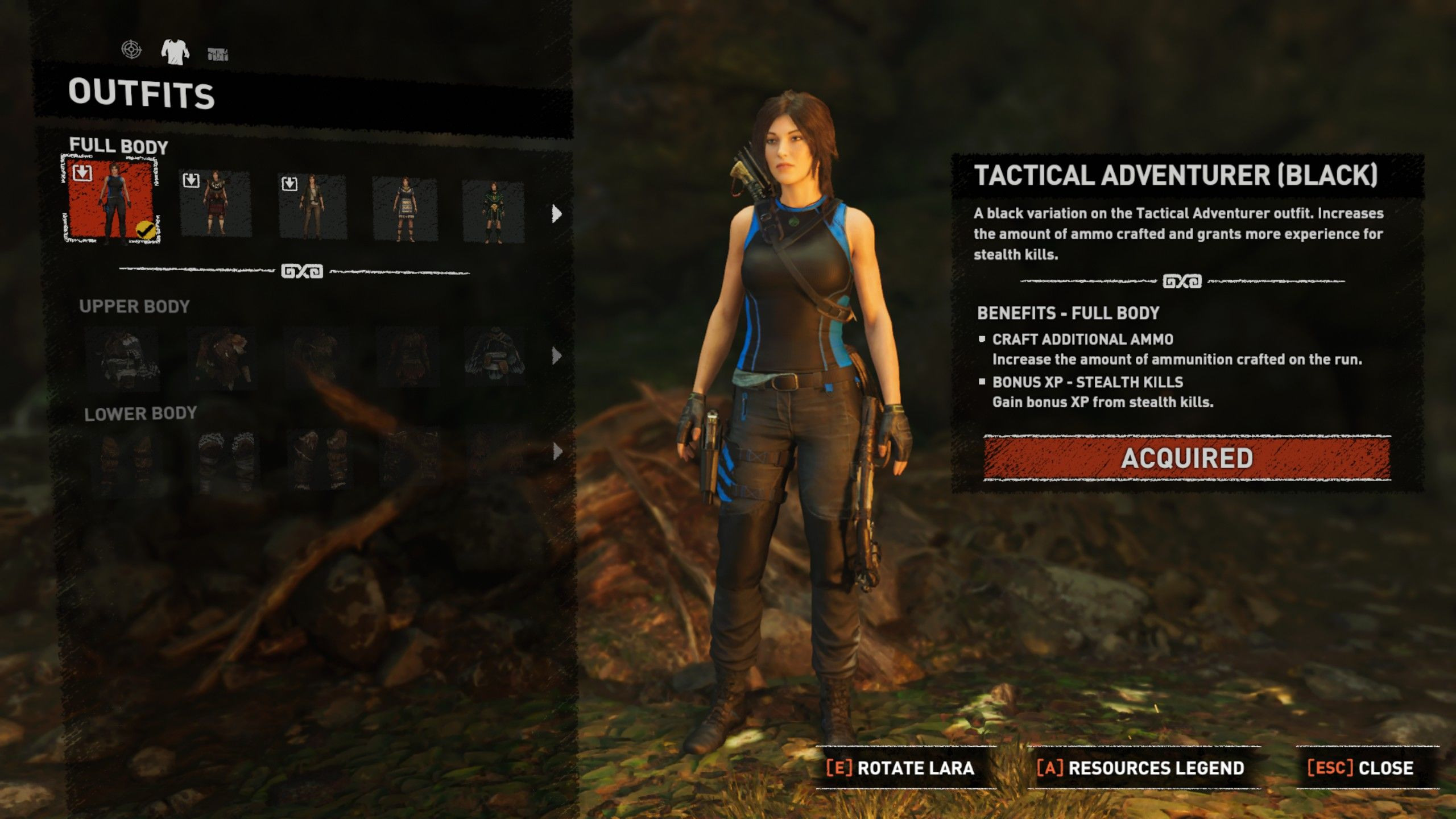 Shadow of the Tomb Raider: Croft Edition Extras Windows Tactical Adventurer (Black) outfit equipped.