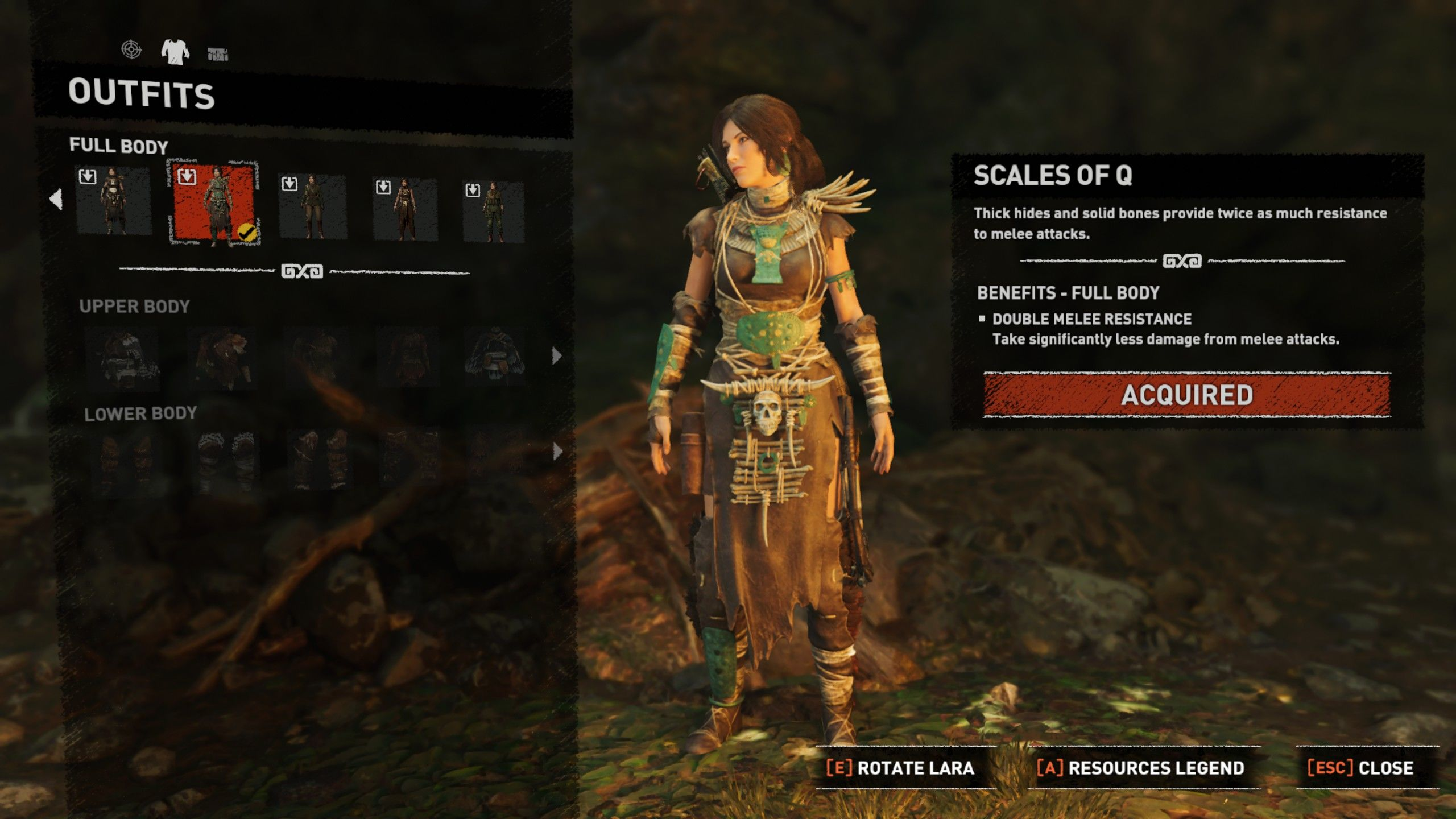 Shadow of the Tomb Raider: Fear Incarnate Gear Windows Scales of Q outfit equipped.