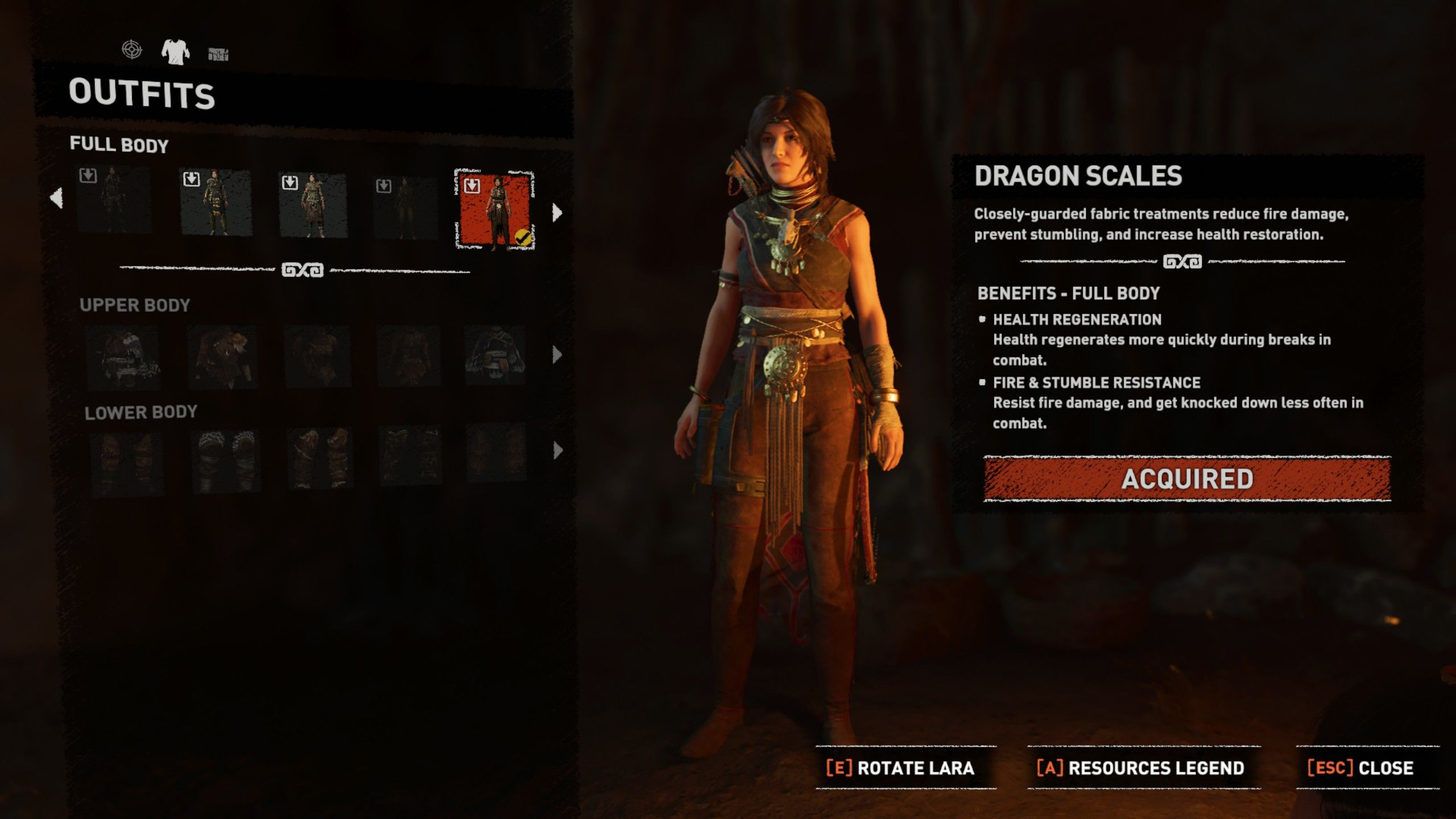 Shadow of the Tomb Raider: Myth Hunter Gear Windows Dragon Scales outfit equipped.