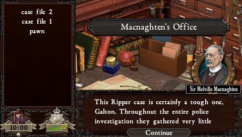 Real Crimes: Jack the Ripper PSP Start of the game in the office