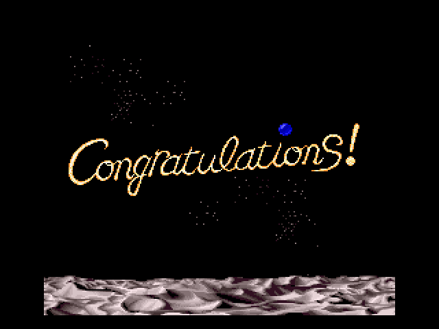 On the Ball SNES A spinning congratulatory message upon completing a set of boards