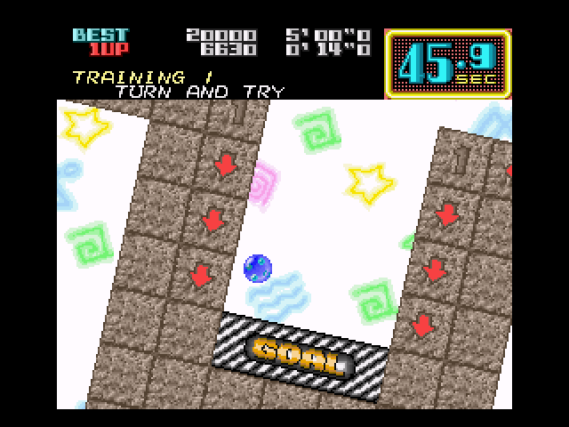 On the Ball SNES Falling neatly into the first level's goal.
