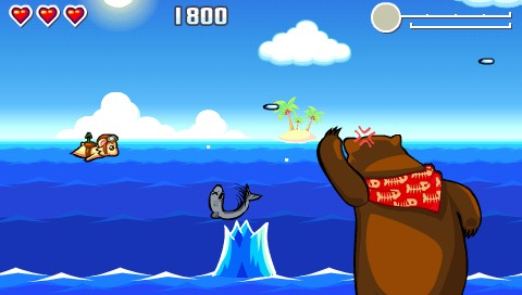 Flying Hamster PSP A giant bear appears, catching a fish.