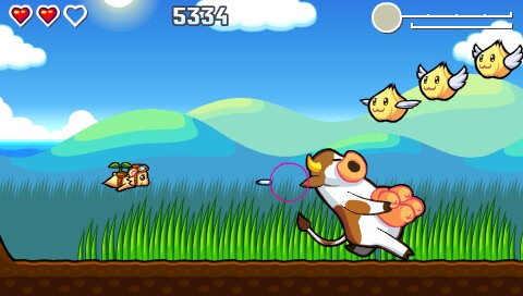 Flying Hamster PSP A cow rushes past.