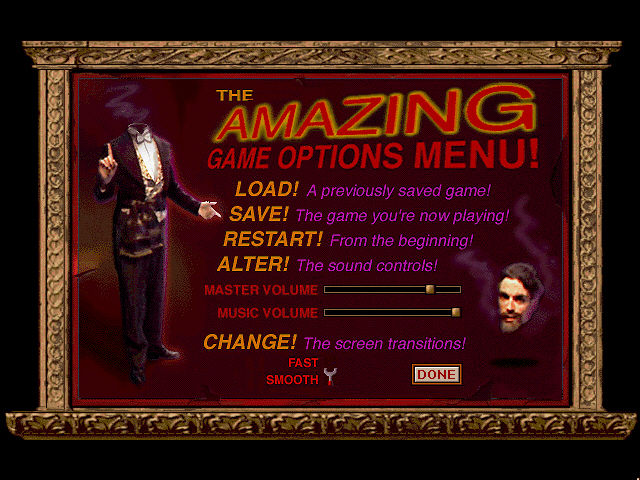 Are You Afraid of the Dark? The Tale of Orpheo's Curse DOS The amazing game options menu