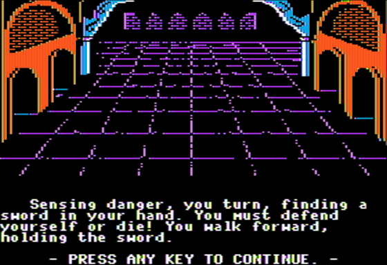 The Cave of Time Apple II Battling Time Ghouls
