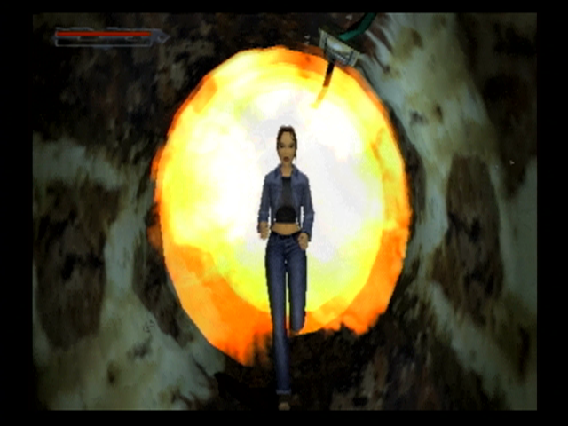 Lara Croft: Tomb Raider - The Angel of Darkness PlayStation 2 Stuffs blowing up, and Lara's trying to get out of the way!