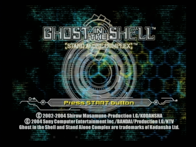 Ghost in the Shell: Stand Alone Complex PlayStation 2 Title and main menu