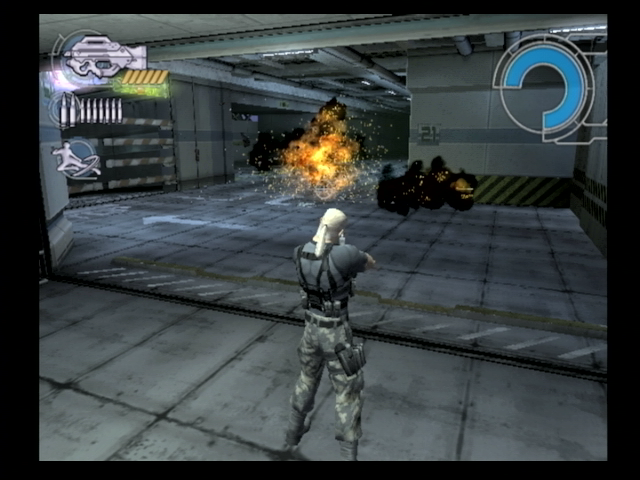 Ghost in the Shell: Stand Alone Complex PlayStation 2 Batou blows up a security robot