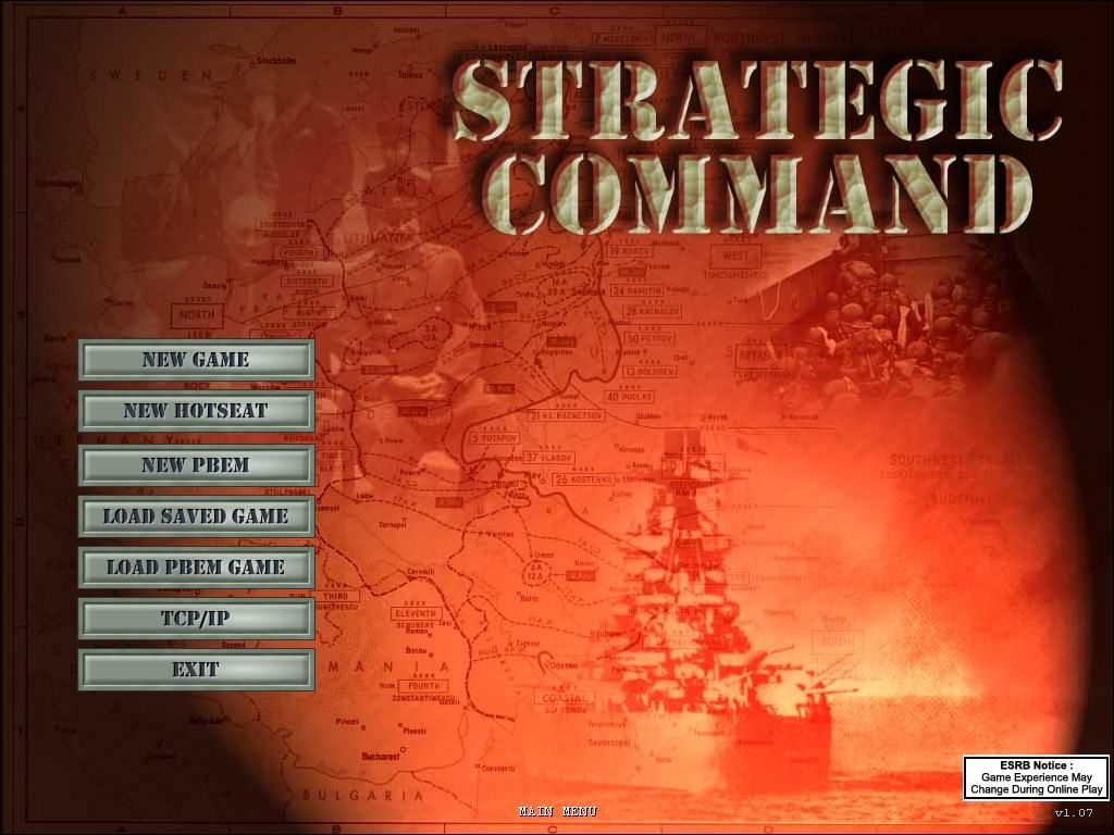 Strategic Command: European Theater Windows Main Menu