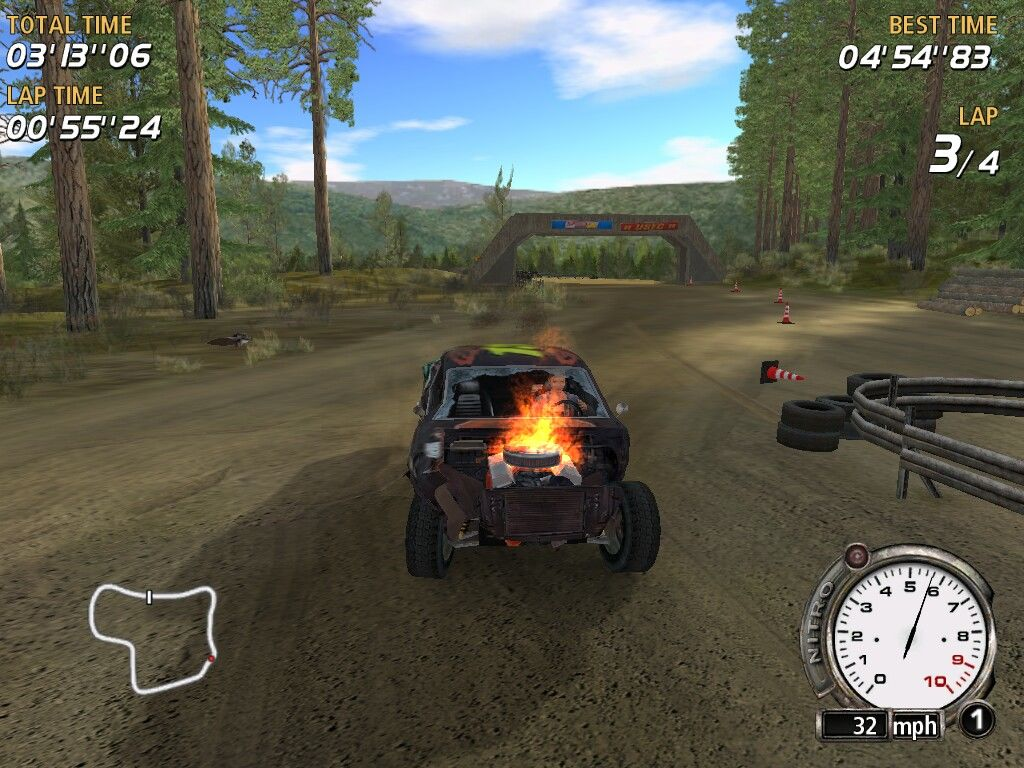 FlatOut Windows Damage is great (body parts deform and fall off). Eventually car starts burning