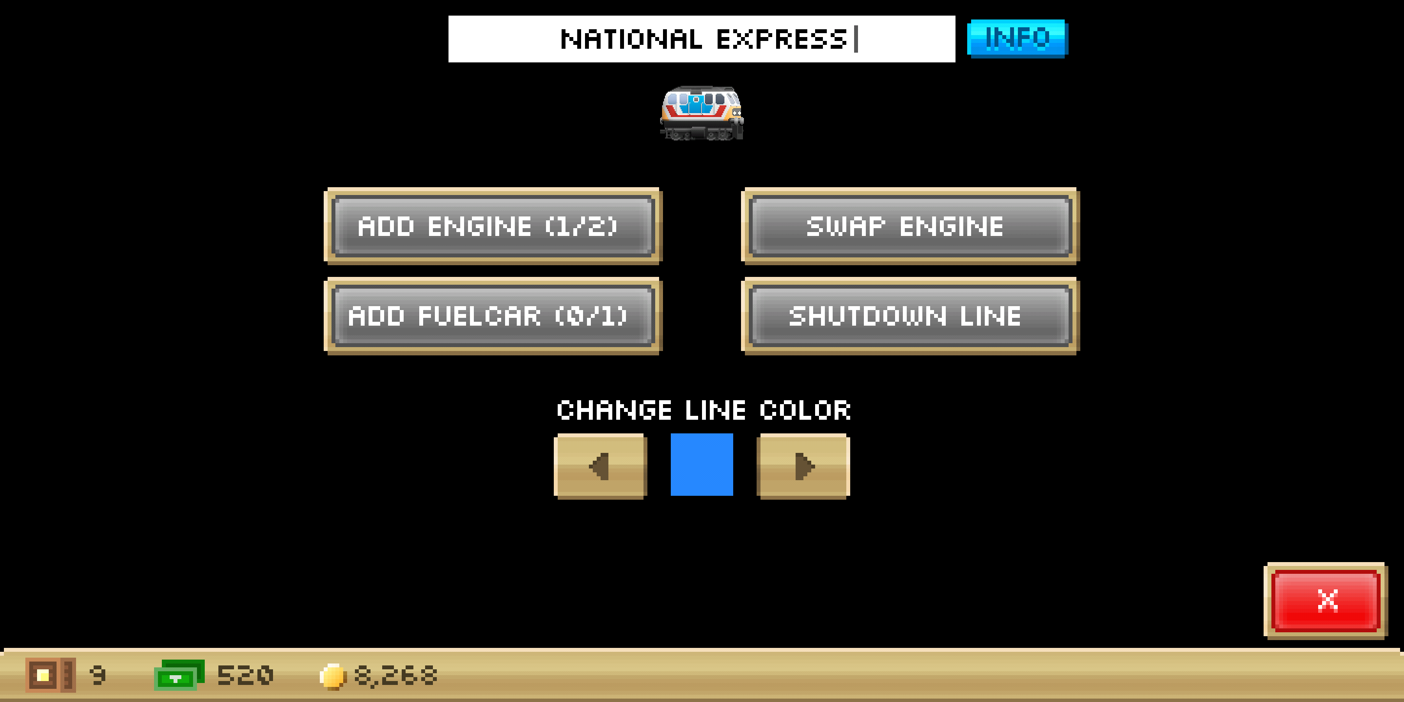 Pocket Trains Android Train management screen