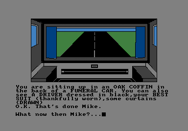 Spy-Trek Adventure Amstrad CPC In the funeral car