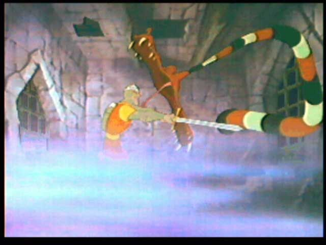 Dragon's Lair 3DO Dirk fighting a snake