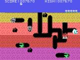 Dig Dug TI-99/4A Dropping a rock on a creature
