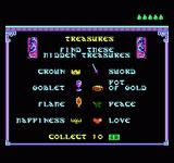 King Neptune's Adventure NES An overview of all the hidden items, there are ten notes to be found as well.