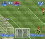 International Superstar Soccer SNES The goal keeper have a excellent shoot!