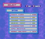 Tetris Attack SNES Options screen. It is possible modify some details in the game.