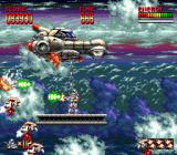 Mega Turrican Genesis In this stage, you have to jump from one steel girder to the next before they fall down.