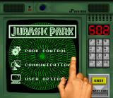 Jurassic Park SNES This is the console menu. See how many cards you collected, open and lock doors etc.