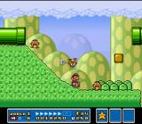 Super Mario All-Stars SNES An easy way to defeat enemies is sliding in a slope.