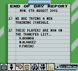 Player Manager 2001 Game Boy Color End of Day Report