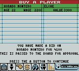 Player Manager 2001 Game Boy Color Making a bid on a player