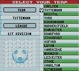 Player Manager 2001 Game Boy Color Team Selection