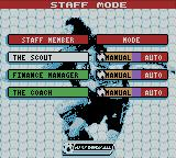 Player Manager 2001 Game Boy Color Staff Mode