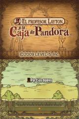 Professor Layton and the Diabolical Box Nintendo DS Title screen (Spanish)