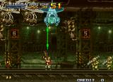 Metal Slug 2: Super Vehicle - 001/II Neo Geo Shooting a laser at a chopper in the rail tunnel