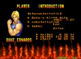 Burning Fight Neo Geo One of the character's profiles