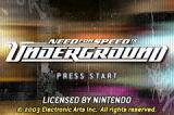 Need for Speed: Underground Game Boy Advance Title screen.
