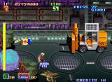 Shock Troopers Arcade Let's ride in that pick-up. Make us get through the stage quicker