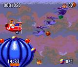 Bubsy II SNES Over a balloon, pursuing some strange birds