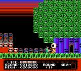 Monster Party NES Beating a giant eye with Mark's baseball bat