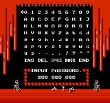 Monster Party NES The password screen