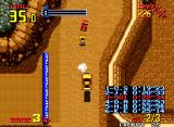 Thrash Rally Neo Geo The game zooms out when jump over a hill.