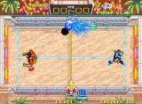 Windjammers Neo Geo Yoo's shot is glued to the wall